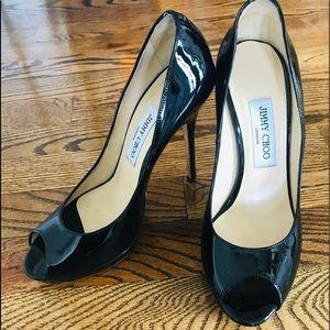 Jimmy Choo black patent leather peep toe 38